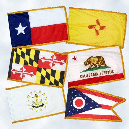 Set of All 50 State Flags with Fringe - For Indoor and Ceremonial Use