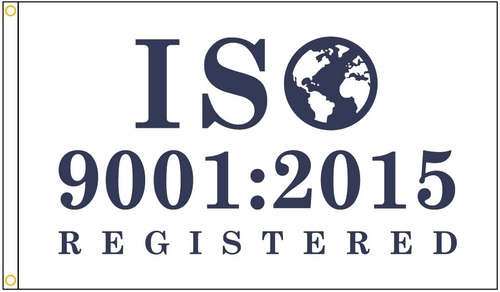ISO 9001:2015 Registered Flag - Blue Design