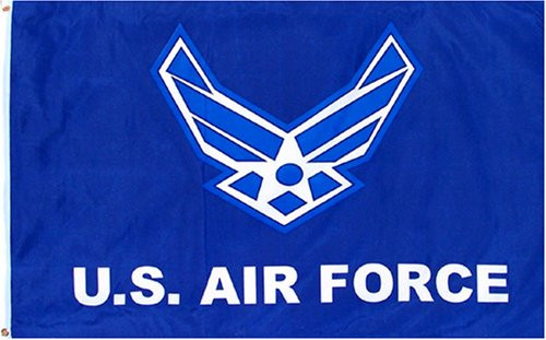 Air Force Wings Flag with Blue Background (Heading and Grommet Style)