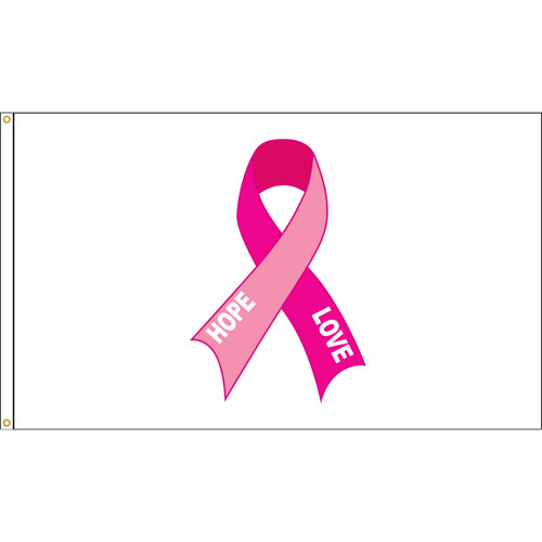 """Hope Love"" Pink Ribbon Flag - 3'x5' - For Outdoor Use"