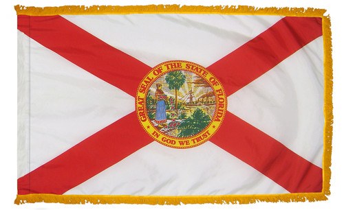 Florida flag with pole sleeve and fringe