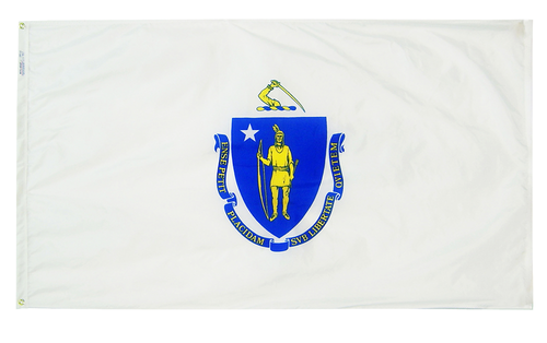 Massachusetts - State Flag (finished with heading and grommets)