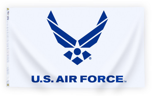 Air Force Wings Flag with White Background - For Outdoor Use - 3' X 5'