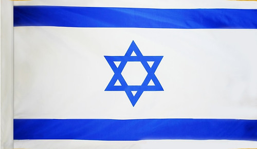 Israel Flag with Pole Sleeve - For Indoor Use