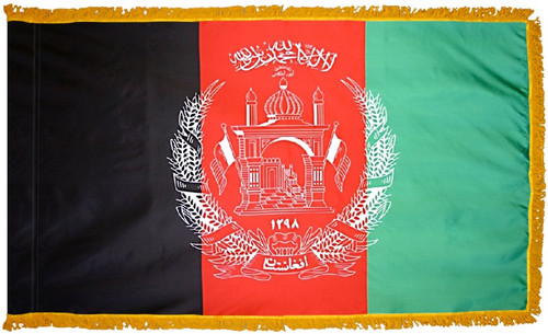 Afghanistan Flag with Fringe - For Indoor & Ceremonial Use