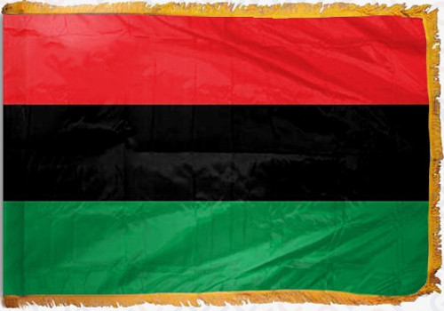 Afro American Flag with Fringe - For Indoor Use