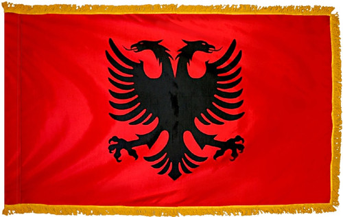 Albania Flag with Fringe - For Indoor & Ceremonial Use