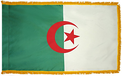 Algeria Flag with Fringe - For Indoor & Ceremonial Use