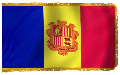 Andorra Flag with Fringe - For Indoor & Ceremonial Use