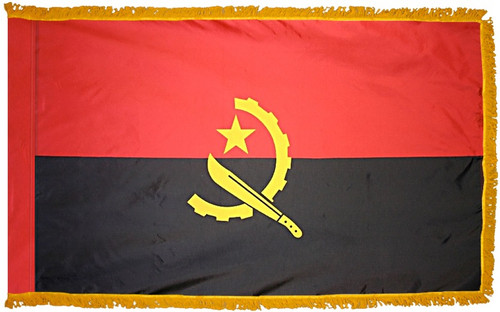 Angola Flag with Fringe - For Indoor & Ceremonial Use
