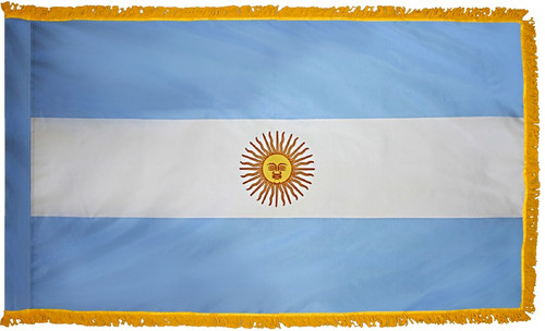 Argentina Flag with Fringe - For Indoor & Ceremonial Use