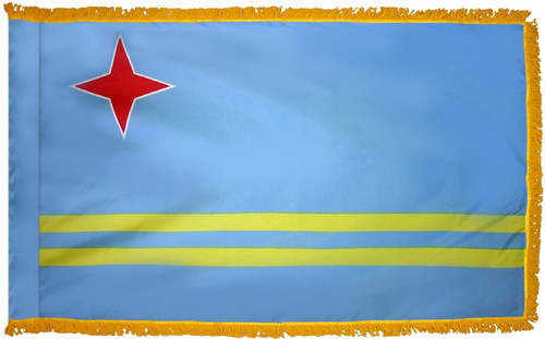 Aruba Flag with Fringe - For Indoor & Ceremonial Use