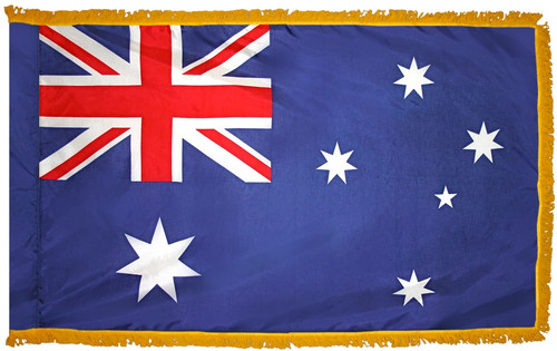 Australia Flag with Fringe - For Indoor & Ceremonial Use