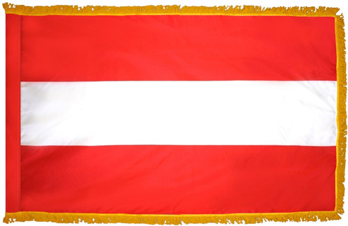 Austria Flag with Fringe - For Indoor & Ceremonial Use