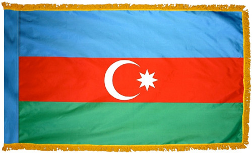Azerbaijan Flag with Fringe - For Indoor Use