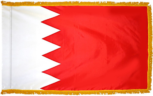 Bahrain Flag with Fringe - For Indoor & Ceremonial Use