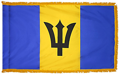 Barbados Flag with Fringe - For Indoor & Ceremonial Use