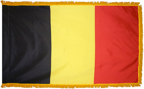 Belgium Flag with Fringe - For Indoor & Ceremonial Use