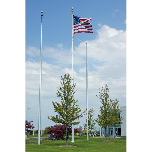 Deluxe Aluminum Flagpole - Internal Halyard with Winch System