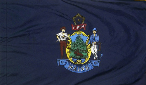 Maine - State Flag with Pole Sleeve - For Indoor Use