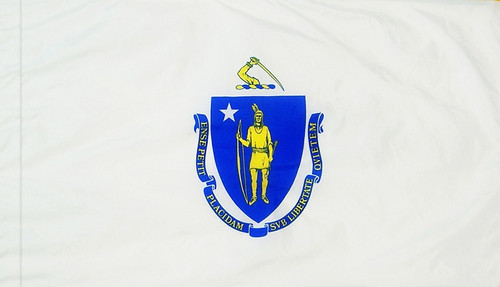 Massachusetts - State Flag with Pole Sleeve - For Indoor Use