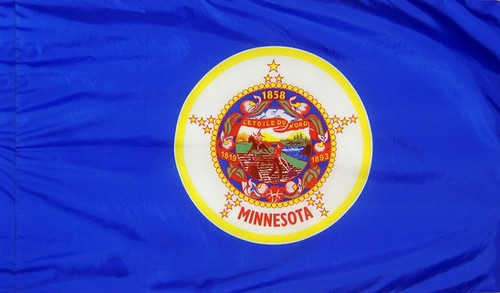 Minnesota - State Flag with Pole Sleeve - For Indoor Use