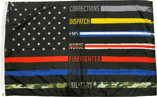 Thin Line First Responder American Flag - 3'x5' - For Outdoor Use