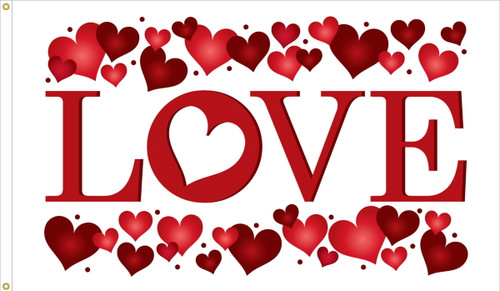 """""""Love"""" Heart-Themed Flag - 3'x5' - For Outdoor Use"""