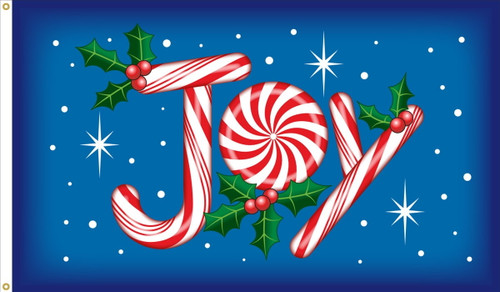 """Joy"" Holiday Flag  - Nylon Material Finished with a Sturdy Fabric Heading and Grommets"