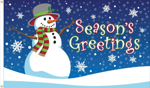 """Season's Greetings"" Holiday Flag  - Nylon Material Finished with a Sturdy Fabric Heading and Grommets"