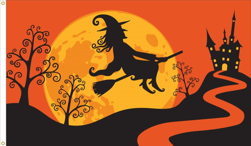 Fall-Themed Flag with Witch - 3'x5' - For Outdoor Use