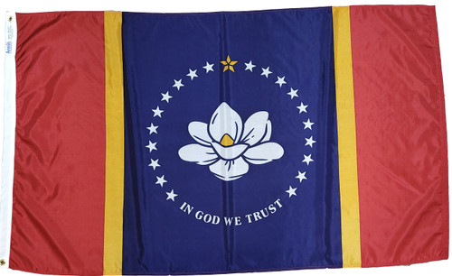 Nylon Mississippi state flag finished with a heading and grommets