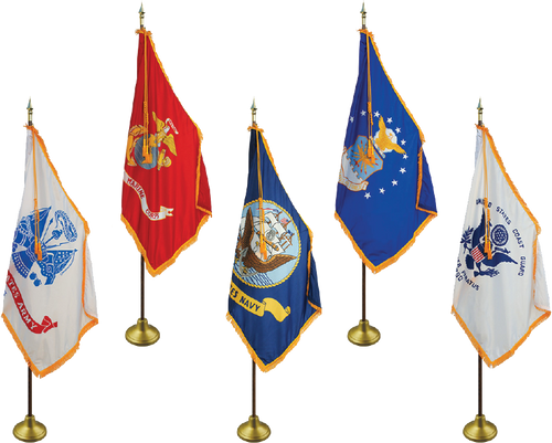 Military Flag Set - Deluxe Oak Flagpole