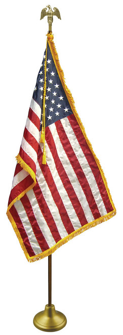 American Flag Set - Gold Adjustable Aluminum Flagpole