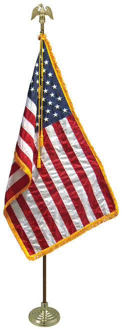 American Flag Set - Deluxe Oak Flagpole