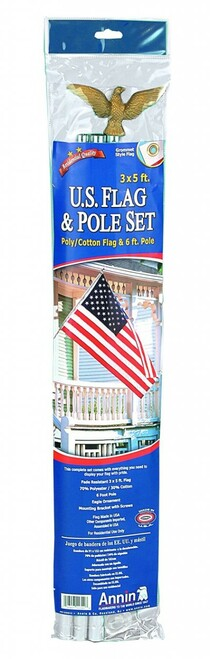American Flag Set with 6' Sectional Aluminium Flagpole