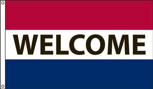 """""""Welcome"""" Message Flag - 3'x5' - For Outdoor Use"""