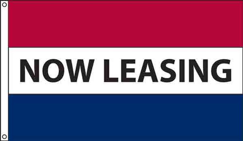 """""""Now Leasing"""" Message Flag - 3'x5' - For Outdoor Use"""