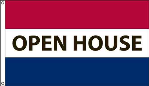 """""""Open House"""" Message Flag - 3'x5' - For Outdoor Use"""