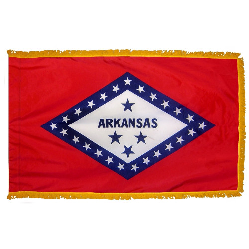 Arkansas flag with pole sleeve and fringe