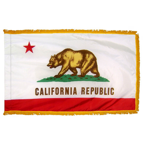 California flag with pole sleeve and fringe