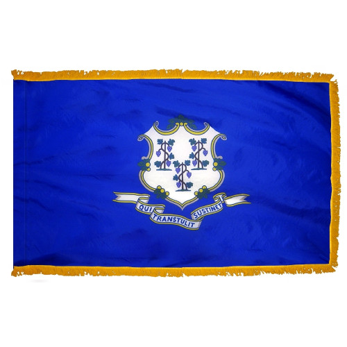 Connecticut flag with pole sleeve and fringe