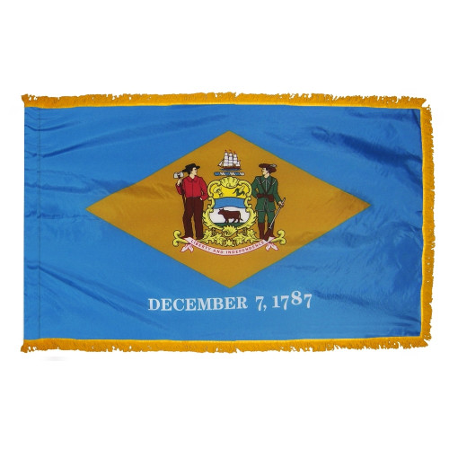 Delaware - State Flag with Fringe - For Indoor Use