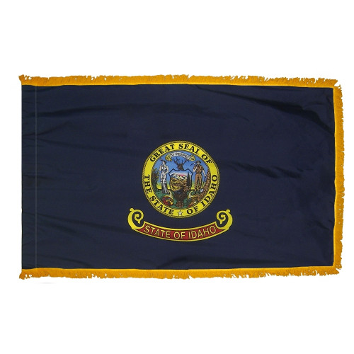 Idaho flag with pole sleeve and fringe