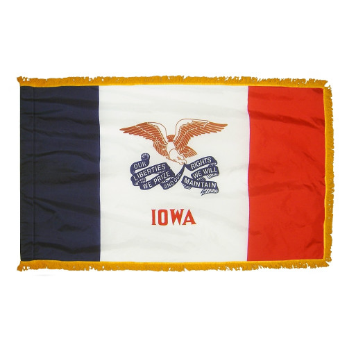 Iowa flag with pole sleeve and fringe
