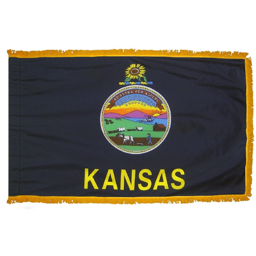 Kansas flag with pole sleeve and fringe