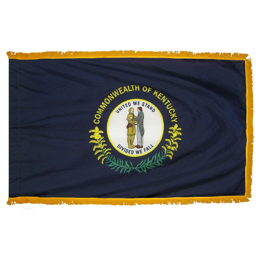 Kentucky flag with pole sleeve and fringe