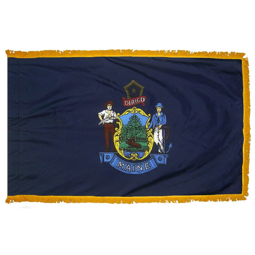 Maine - State Flag with Fringe - For Indoor and Ceremonial Use