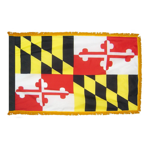 Maryland flag with pole sleeve and fringe