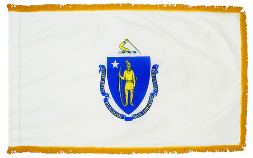 Massachusetts flag with pole sleeve and fringe
